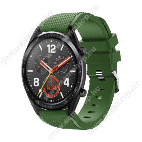 SAMSUNG SM-R760 Gear S3 Frontier Okosóra szíj - szilikon, Twill mintás - 77mm + 104mm hosszú, 22mm széles - ZÖLD - HUAWEI Watch GT / HUAWEI Watch Magic / Watch GT 2 46mm