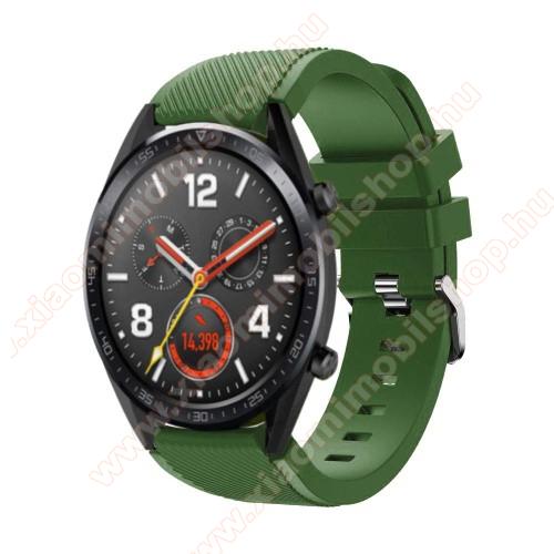 Xiaomi AmazfitOkosóra szíj - szilikon, Twill mintás - 77mm + 104mm hosszú, 22mm széles - ZÖLD - HUAWEI Watch GT / HUAWEI Watch Magic / Watch GT 2 46mm
