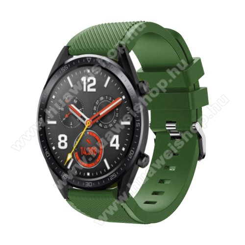 Okosóra szíj - szilikon, Twill mintás - 77mm + 104mm hosszú, 22mm széles - ZÖLD - HUAWEI Watch GT / HUAWEI Watch Magic / Watch GT 2 46mm
