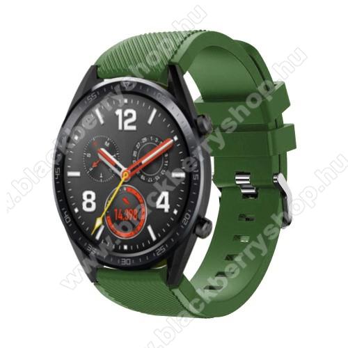 Okosóra szíj - szilikon, Twill mintás - 77mm + 104mm hosszú, 22mm széles - ZÖLD - HUAWEI Watch GT / HUAWEI Watch Magic / Watch GT 2 46mm