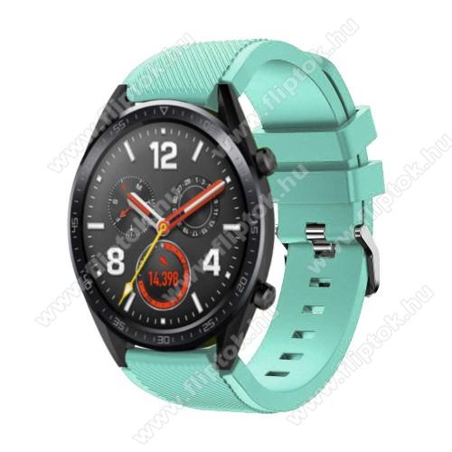 Xiaomi Watch ColorOkosóra szíj - szilikon, Twill mintás - 77mm + 104mm hosszú, 22mm széles - CYAN - HUAWEI Watch GT / HUAWEI Watch Magic / Watch GT 2 46mm