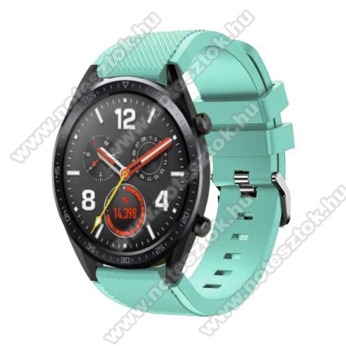 Xiaomi Mi Watch (FOR GLOBAL MARKET)Okosóra szíj - szilikon, Twill mintás - 77mm + 104mm hosszú, 22mm széles - CYAN - HUAWEI Watch GT / HUAWEI Watch Magic / Watch GT 2 46mm