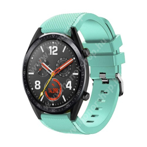 HUAWEI Watch GT 2 46mm Okosóra szíj - szilikon, Twill mintás - 77mm + 104mm hosszú, 22mm széles - CYAN - HUAWEI Watch GT / HUAWEI Watch Magic / Watch GT 2 46mm