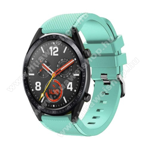 HUAWEI Watch GT 2 46mm Okosóra szíj - szilikon, Twill mintás - 77mm + 104mm hosszú, 20mm széles - CYAN - HUAWEI Watch GT / HUAWEI Watch Magic / Watch GT 2 46mm