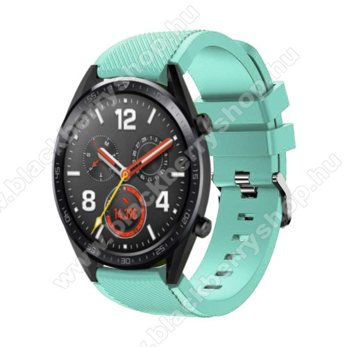Okosóra szíj - szilikon, Twill mintás - 77mm + 104mm hosszú, 22mm széles - CYAN - HUAWEI Watch GT / HUAWEI Watch Magic / Watch GT 2 46mm