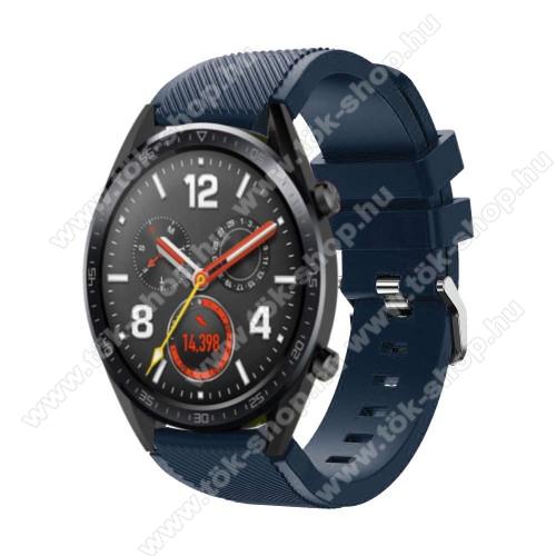 HUAWEI Honor MagicWatch 2 46mmOkosóra szíj - szilikon, Twill mintás - 77mm + 104mm hosszú, 22mm széles - SÖTÉTKÉK - HUAWEI Watch GT / HUAWEI Watch Magic / Watch GT 2 46mm