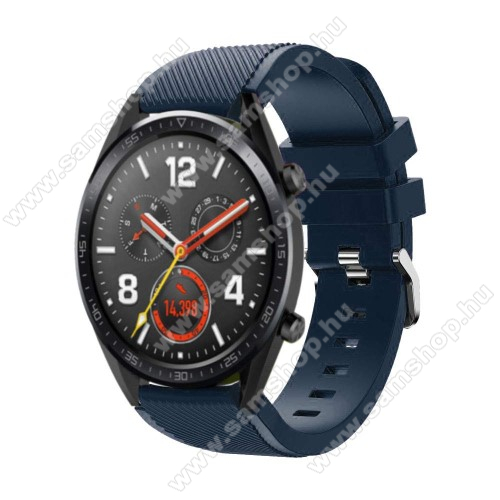 SAMSUNG Galaxy Watch3 45mm (SM-R845F) Okosóra szíj - szilikon, Twill mintás - 77mm + 104mm hosszú, 22mm széles - SÖTÉTKÉK - HUAWEI Watch GT / HUAWEI Watch Magic / Watch GT 2 46mm