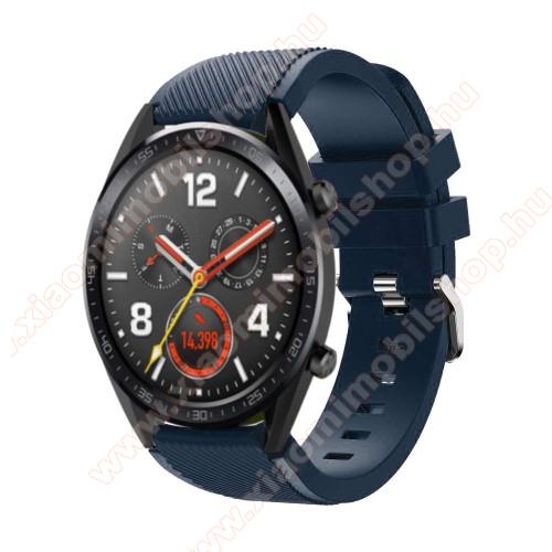 Xiaomi Amazfit 2Okosóra szíj - szilikon, Twill mintás - 77mm + 104mm hosszú, 22mm széles - SÖTÉTKÉK - HUAWEI Watch GT / HUAWEI Watch Magic / Watch GT 2 46mm