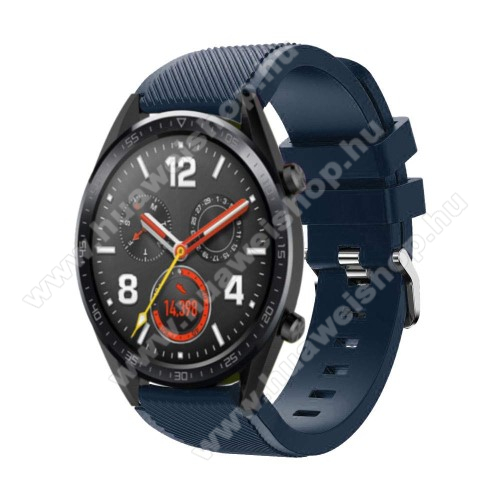 HUAWEI Watch GT 2 46mm Okosóra szíj - szilikon, Twill mintás - 77mm + 104mm hosszú, 20mm széles - SÖTÉTKÉK - HUAWEI Watch GT / HUAWEI Watch Magic / Watch GT 2 46mm