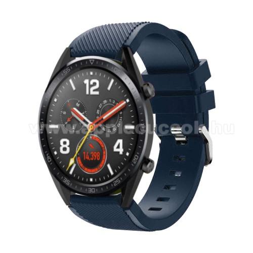 Okosóra szíj - szilikon, Twill mintás - 77mm + 104mm hosszú, 22mm széles - SÖTÉTKÉK - HUAWEI Watch GT / HUAWEI Watch Magic / Watch GT 2 46mm