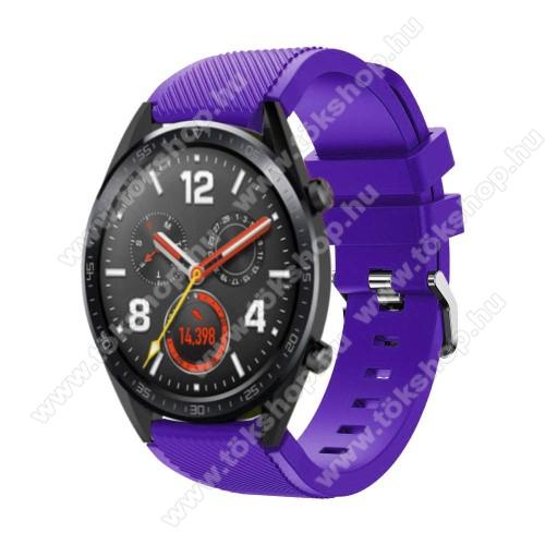 Xiaomi Watch ColorOkosóra szíj - szilikon, Twill mintás - 77mm + 104mm hosszú, 22mm széles - LILA - HUAWEI Watch GT / HUAWEI Watch Magic / Watch GT 2 46mm