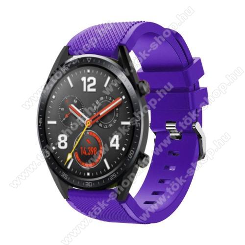 HUAWEI Honor MagicWatch 2 46mmOkosóra szíj - szilikon, Twill mintás - 77mm + 104mm hosszú, 22mm széles - LILA - HUAWEI Watch GT / HUAWEI Watch Magic / Watch GT 2 46mm