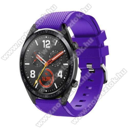 Xiaomi Mi Watch (FOR GLOBAL MARKET)Okosóra szíj - szilikon, Twill mintás - 77mm + 104mm hosszú, 22mm széles - LILA - HUAWEI Watch GT / HUAWEI Watch Magic / Watch GT 2 46mm
