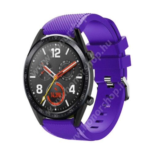 HUAWEI Watch GT 2 46mm Okosóra szíj - szilikon, Twill mintás - 77mm + 104mm hosszú, 22mm széles - LILA - HUAWEI Watch GT / HUAWEI Watch Magic / Watch GT 2 46mm