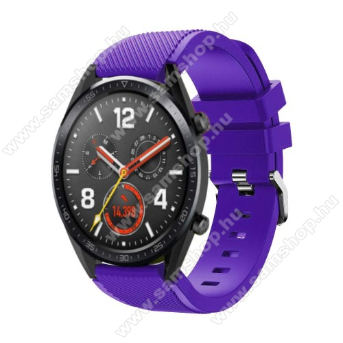 SAMSUNG Galaxy Watch3 45mm (SM-R845F) Okosóra szíj - szilikon, Twill mintás - 77mm + 104mm hosszú, 22mm széles - LILA - HUAWEI Watch GT / HUAWEI Watch Magic / Watch GT 2 46mm
