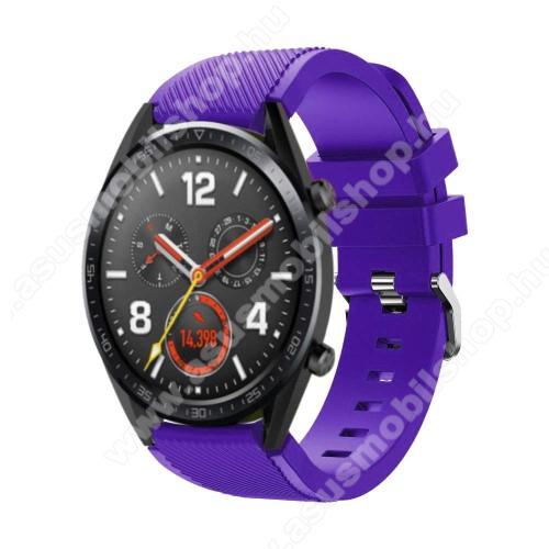 Okosóra szíj - szilikon, Twill mintás - 77mm + 104mm hosszú, 22mm széles - LILA - HUAWEI Watch GT / HUAWEI Watch Magic / Watch GT 2 46mm