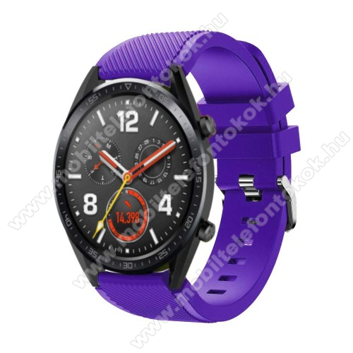 Xiaomi Mi Watch Color Sports Okosóra szíj - szilikon, Twill mintás - 77mm + 104mm hosszú, 22mm széles - LILA - HUAWEI Watch GT / HUAWEI Watch Magic / Watch GT 2 46mm