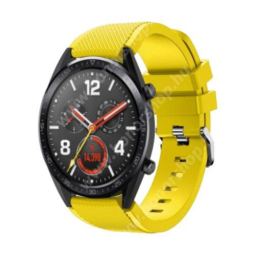 Okosóra szíj - szilikon, Twill mintás - 85mm + 125mm hosszú, 22mm széles - CITROMSÁRGA - HUAWEI Watch GT / HUAWEI Watch Magic / Watch GT 2 46mm