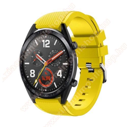 Xiaomi Amazfit 2Okosóra szíj - szilikon, Twill mintás - 85mm + 125mm hosszú, 22mm széles - CITROMSÁRGA - HUAWEI Watch GT / HUAWEI Watch Magic / Watch GT 2 46mm
