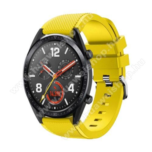 HUAWEI Watch 2 ProOkosóra szíj - szilikon, Twill mintás - 85mm + 125mm hosszú, 22mm széles - CITROMSÁRGA - HUAWEI Watch GT / HUAWEI Watch Magic / Watch GT 2 46mm