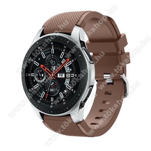 Xiaomi Watch ColorOkosóra szíj - szilikon, Twill mintás - BARNA - 103mm + 92mm hosszú, 22mm széles, max 215mm-es csuklóra - SAMSUNG Galaxy Watch 46mm / SAMSUNG Gear S3 Classic / SAMSUNG Gear S3 Frontier