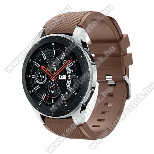 Xiaomi Mi Watch (FOR GLOBAL MARKET)Okosóra szíj - szilikon, Twill mintás - BARNA - 103mm + 92mm hosszú, 22mm széles, max 215mm-es csuklóra - SAMSUNG Galaxy Watch 46mm / SAMSUNG Gear S3 Classic / SAMSUNG Gear S3 Frontier