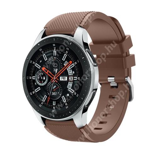 HUAWEI Honor MagicWatch 2 46mm Okosóra szíj - szilikon, Twill mintás - BARNA - 103mm + 92mm hosszú, 22mm széles, max 215mm-es csuklóra - SAMSUNG Galaxy Watch 46mm / SAMSUNG Gear S3 Classic / SAMSUNG Gear S3 Frontier