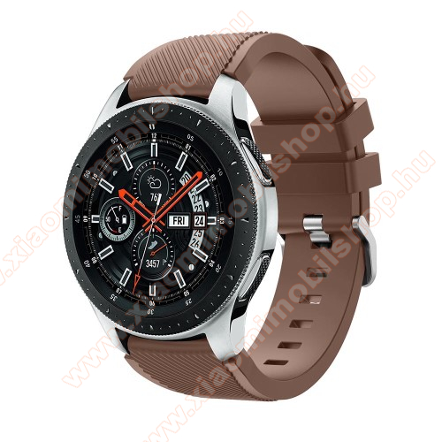 Xiaomi Amazfit PaceOkosóra szíj - szilikon, Twill mintás - BARNA - 103mm + 92mm hosszú, 22mm széles, max 215mm-es csuklóra - SAMSUNG Galaxy Watch 46mm / SAMSUNG Gear S3 Classic / SAMSUNG Gear S3 Frontier