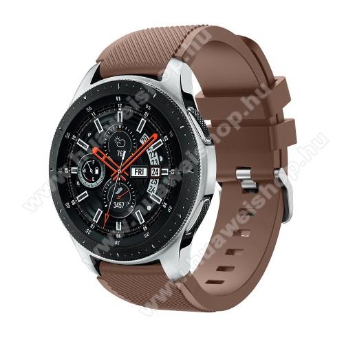 HUAWEI Watch 2 ProOkosóra szíj - szilikon, Twill mintás - BARNA - 103mm + 92mm hosszú, 22mm széles, max 215mm-es csuklóra - SAMSUNG Galaxy Watch 46mm / SAMSUNG Gear S3 Classic / SAMSUNG Gear S3 Frontier
