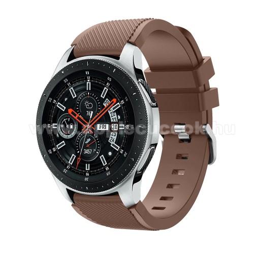Okosóra szíj - szilikon, Twill mintás - BARNA - 103mm + 92mm hosszú, 22mm széles, max 215mm-es csuklóra - SAMSUNG Galaxy Watch 46mm / SAMSUNG Gear S3 Classic / SAMSUNG Gear S3 Frontier