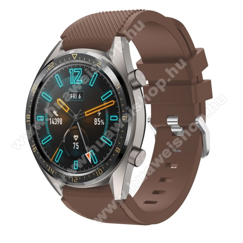 HUAWEI Watch 2 Pro Okosóra szíj - szilikon, Twill mintás - BARNA - 93mm + 105mm hosszú, 22mm széles - HUAWEI Watch GT / HUAWEI Watch 2 Pro / Honor Watch Magic / HUAWEI Watch GT 2 46mm