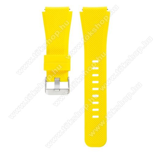 Okosóra szíj - szilikon, Twill mintás - CITROMSÁRGA - szilikon, 60mm + 110mm hosszú, 22mm széles - SAMSUNG Galaxy Watch 46mm / SAMSUNG Gear S3 Classic / SAMSUNG Gear S3 Frontier