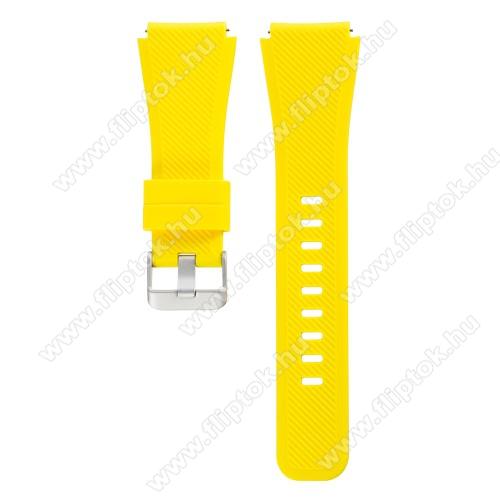 ZTE Watch GTOkosóra szíj - szilikon, Twill mintás - CITROMSÁRGA - szilikon, 60mm + 110mm hosszú, 22mm széles - SAMSUNG Galaxy Watch 46mm / SAMSUNG Gear S3 Classic / SAMSUNG Gear S3 Frontier