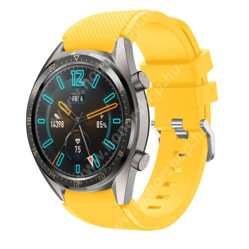HUAWEI Watch 2 Pro Okosóra szíj - szilikon, Twill mintás - CITROMSÁRGA - 85mm + 125mm hosszú, 22mm széles - HUAWEI Watch GT / HUAWEI Watch 2 Pro / Honor Watch Magic / HUAWEI Watch GT 2 46mm