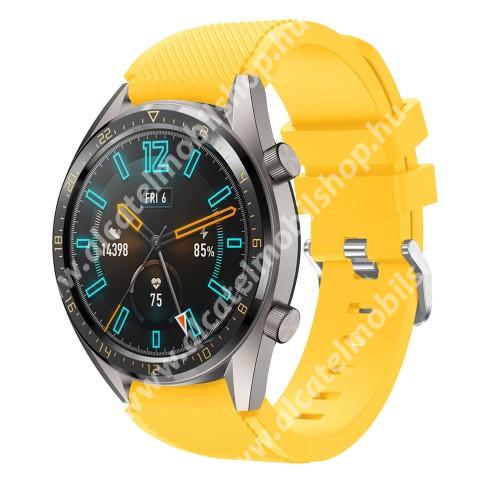 Okosóra szíj - szilikon, Twill mintás - CITROMSÁRGA - 85mm + 125mm hosszú, 22mm széles - HUAWEI Watch GT / HUAWEI Watch 2 Pro / Honor Watch Magic / HUAWEI Watch GT 2 46mm