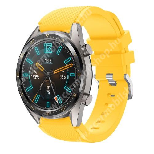 Okosóra szíj - szilikon, Twill mintás - CITROMSÁRGA - HUAWEI Watch GT / HUAWEI Honor Watch Magic / HUAWEI Watch 2 Pro