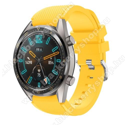 Okosóra szíj - szilikon, Twill mintás - CITROMSÁRGA - 93mm + 105mm hosszú, 22mm széles - HUAWEI Watch GT / HUAWEI Watch 2 Pro / Honor Watch Magic / HUAWEI Watch GT 2 46mm