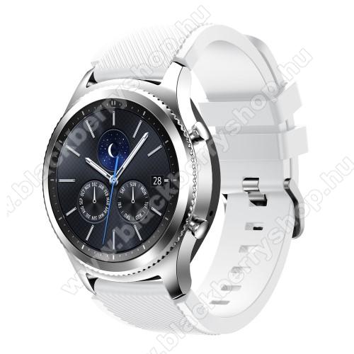 Okosóra szíj - szilikon, Twill mintás - FEHÉR - 140mm-től 215mm-es méretű csuklóig ajánlott, 105mm + 92mm hosszú, 22mm széles - SAMSUNG Galaxy Watch 46mm / SAMSUNG Gear S3 Classic / SAMSUNG Gear S3 Frontier