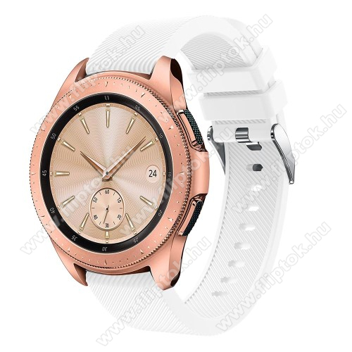 EVOLVEO SPORTWATCH M1SOkosóra szíj - szilikon, Twill mintás - FEHÉR - 102mm + 80mm hosszú, 20mm széles, max 225mm-es csuklóra - SAMSUNG Galaxy Watch 42mm / Xiaomi Amazfit GTS / SAMSUNG Gear S2 / HUAWEI Watch GT 2 42mm / Galaxy Watch Active / Active 2