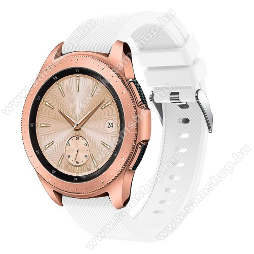 SAMSUNG Galaxy Watch 42mm (SM-R810NZ)Okosóra szíj - szilikon, Twill mintás - FEHÉR - 102mm + 80mm hosszú, 20mm széles, max 225mm-es csuklóra - SAMSUNG Galaxy Watch 42mm / Xiaomi Amazfit GTS / SAMSUNG Gear S2 / HUAWEI Watch GT 2 42mm / Galaxy Watch Active / Active 2