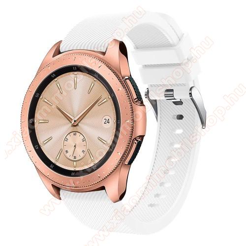 Xiaomi Amazfit Youth EditionOkosóra szíj - szilikon, Twill mintás - FEHÉR - 102mm + 80mm hosszú, 20mm széles, max 225mm-es csuklóra - SAMSUNG Galaxy Watch 42mm / Xiaomi Amazfit GTS / SAMSUNG Gear S2 / HUAWEI Watch GT 2 42mm / Galaxy Watch Active / Active 2