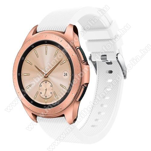 Xiaomi 70mai SaphirOkosóra szíj - szilikon, Twill mintás - FEHÉR - 102mm + 80mm hosszú, 20mm széles, max 225mm-es csuklóra - SAMSUNG Galaxy Watch 42mm / Xiaomi Amazfit GTS / SAMSUNG Gear S2 / HUAWEI Watch GT 2 42mm / Galaxy Watch Active / Active 2