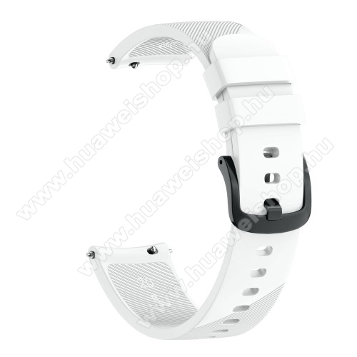 Okosóra szíj - szilikon, Twill mintás - FEHÉR - S-es méret, 92mm + 80mm hosszú, 20mm széles - SAMSUNG Galaxy Watch 42mm / Xiaomi Amazfit GTS / HUAWEI Watch GT / SAMSUNG Gear S2 / HUAWEI Watch GT 2 42mm / Galaxy Watch Active / Active  2 / Galaxy Gear Sport
