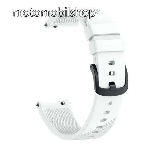 Okosóra szíj - szilikon, Twill mintás - FEHÉR - S-es méret, 92mm + 80mm hosszú, 20mm széles - SAMSUNG Galaxy Watch 42mm / Xiaomi Amazfit GTS / HUAWEI Watch GT / SAMSUNG Gear S2 / HUAWEI Watch GT 2 42mm / Galaxy Watch Active / Active  2 / Galaxy Gear Sport