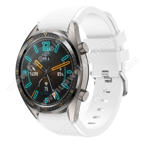 HUAWEI Watch MagicOkosóra szíj - szilikon, Twill mintás - FEHÉR - 93mm + 105mm hosszú, 20mm széles - HUAWEI Watch GT / HUAWEI Watch 2 Pro / Honor Watch Magic / HUAWEI Watch GT 2 46mm