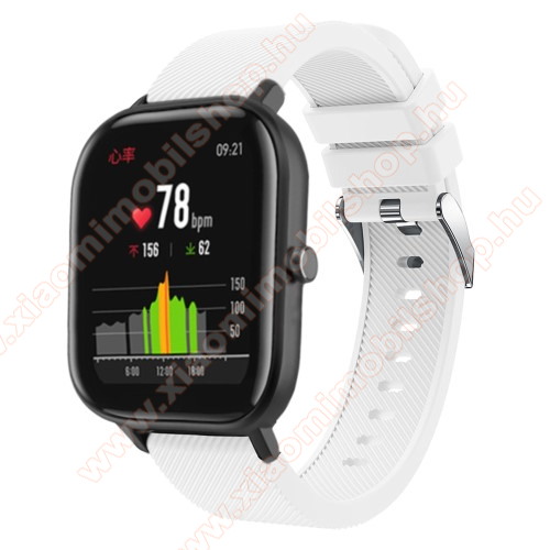 Huami Amazfit Youth Edition LiteOkosóra szíj - szilikon, Twill mintás - FEHÉR - 20mm széles, 130mm+95mm hosszú, 170-225mm átmérőjű csuklóméretig - SAMSUNG Galaxy Watch 42mm / Xiaomi Amazfit GTS / SAMSUNG Gear S2 / HUAWEI Watch GT 2 42mm / Galaxy Watch Active / Active 2