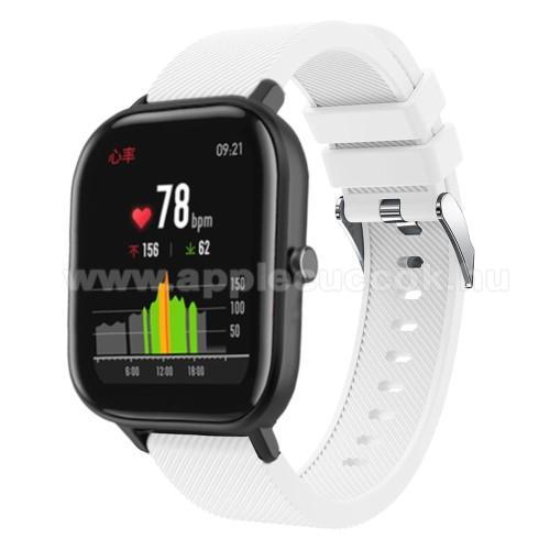 Okosóra szíj - szilikon, Twill mintás - FEHÉR - 20mm széles, 130mm+95mm hosszú, 170-225mm átmérőjű csuklóméretig - SAMSUNG Galaxy Watch 42mm / Xiaomi Amazfit GTS / HUAWEI Watch GT / SAMSUNG Gear S2 / HUAWEI Watch GT 2 42mm / Galaxy Watch Active / Active 2