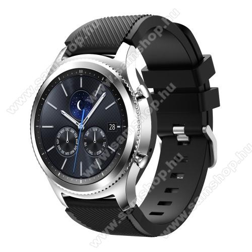 SAMSUNG SM-R380 Gear 2Okosóra szíj - szilikon, Twill mintás - FEKETE - 140mm-től 215mm-es méretű csuklóig ajánlott, 105mm + 92mm hosszú, 22mm széles - SAMSUNG Galaxy Watch 46mm / SAMSUNG Gear S3 Classic / SAMSUNG Gear S3 Frontier