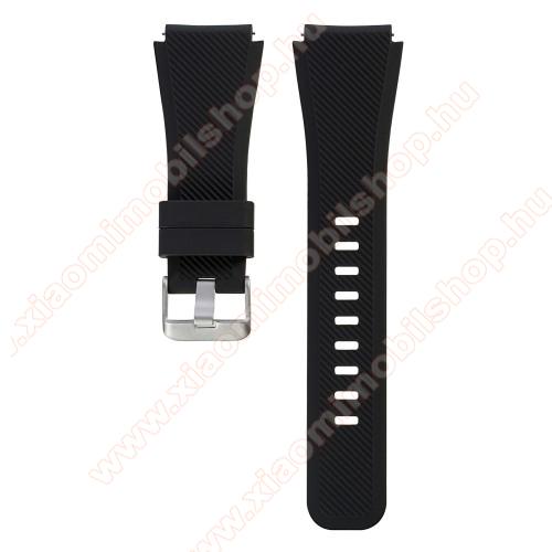 Xiaomi AmazfitOkosóra szíj - szilikon, Twill mintás - FEKETE - L-es méret, 22mm széles, 20cm hosszú - SAMSUNG Galaxy Watch 46mm / SAMSUNG Gear S3 Classic / SAMSUNG Gear S3 Frontier