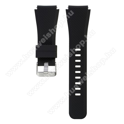 HUAWEI Watch GT 46mmOkosóra szíj - szilikon, Twill mintás - FEKETE - L-es méret, 22mm széles, 20cm hosszú - SAMSUNG Galaxy Watch 46mm / SAMSUNG Gear S3 Classic / SAMSUNG Gear S3 Frontier